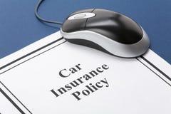 Póliza de seguro de coche Fotografía de archivo
