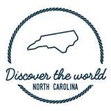 Pólnocna Karolina mapy kontur Rocznik Odkrywa ilustracja wektor