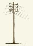 Pólo de potência de madeira velho ilustração do vetor
