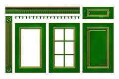 Póngase verde con la puerta del oro, cajón, columna, cornisa para el armario de cocina aislado en blanco Fotografía de archivo libre de regalías