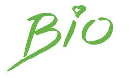 Póngase verde, una muestra manuscrita con bio conveniente del texto para el logotipo aislado en el fondo blanco Foto de archivo libre de regalías