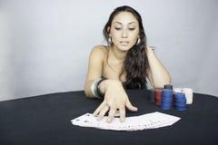 Póquer da mulher Fotos de Stock