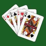 Póquer das rainhas no verde Imagens de Stock