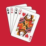 Póquer das rainhas no vermelho Fotos de Stock
