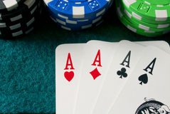 Póquer dos ás foto de stock