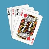 Póquer dos reis no azul Imagem de Stock