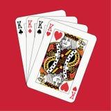 Póquer dos reis no vermelho Fotografia de Stock