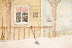 Pórche de entrada en nieve con la cuerda para tender la ropa Fotografía de archivo