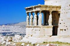 Pórtico de la cariátide de Erechtheum en la acrópolis Fotos de archivo libres de regalías