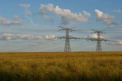 Pôle électrique dans le domaine Photographie stock