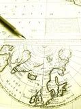 Pôle Nord arctique antique de carte de cercle de diagramme Image stock
