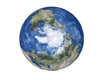 Pôle Nord du globe de la terre de planète d'isolement sur le fond blanc Éléments de cette image meublés par la NASA illustration libre de droits