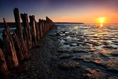 Pôles dans l'océan au coucher du soleil Photo stock