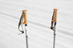 Pôles de ski dans la neige Photographie stock
