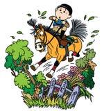 Pônei do treinamento do menino dos desenhos animados a saltar sobre a cerca ilustração royalty free