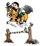 Pônei equestre dos desenhos animados que salta sobre o obstáculo ilustração stock