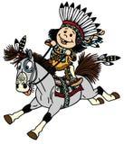 Pônei indiano da equitação do menino do natine dos desenhos animados ilustração royalty free