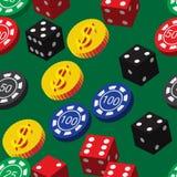 Pôquer Chips Dice e teste padrão sem emenda das moedas Fotos de Stock Royalty Free