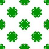 Pôquer verde Chip Icon Seamless Pattern Imagem de Stock Royalty Free