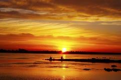 Pôr-do-sol alaranjado Fotografia de Stock