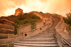 Pôr-do-sol do Grande Muralha, Beijing Imagens de Stock