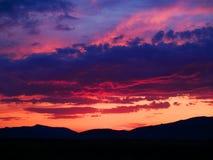 Pôr-do-sol vermelho Imagens de Stock