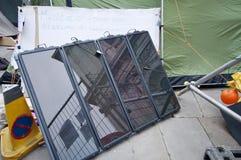 Pôr ocupa Londres pela energia solar Foto de Stock