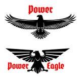 Põe o ícone da águia ou o grupo de símbolos heráldico do pássaro ilustração do vetor