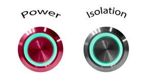 Põe o botão vermelho com palavra e o luminoso verde circular e o botão de prata da isolação no fundo branco foto de stock