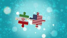 Põe o enigma a Irã e a bandeira dos EUA Imagens de Stock Royalty Free