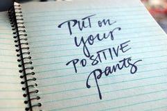 Põe sobre seu fundo caligráfico das calças positivas Fotos de Stock