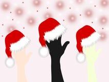 Põe suas mãos sobre o tampão de Santa Claus Foto de Stock Royalty Free