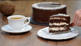 Põe uma parte de bolo de coco do chocolate em uma placa video estoque