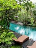 Pöl för villa för hotell för Bali ubudboutique Fotografering för Bildbyråer