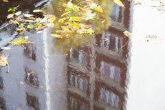 pöl på den stads- vägen med reflexion av huset arkivbild