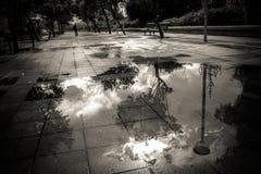 Pöl på trottoaren Royaltyfri Fotografi