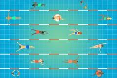 pöl som simmar övre sikt Grupp människor av olika ålder, genus och nationaliteter som simmar i sportmitt stock illustrationer