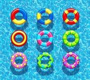 Pölen ringer på bakgrund för blått vatten stock illustrationer
