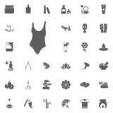 Pölklädersymbol Baddräktsymbol Spa och för rekreation fastställda symboler Uppsättning av 33 brunnsortsymboler Arkivbilder