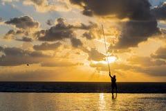 Pölunderhåll på soluppgång Arkivbilder