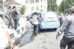 Público do aumento da tarifa do veículo da recusa da ação do protesto dos motoristas Fotografia de Stock