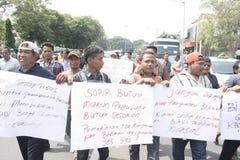 Público do aumento da tarifa do veículo da recusa da ação do protesto dos motoristas Fotos de Stock