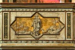 Púlpito com o pastor pintado de jesus das almas Foto de Stock