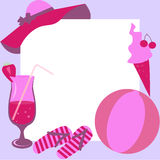 Púrpura capítulo de la estación de la playa con rosa Imagen de archivo