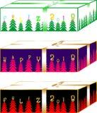 Púrpura de las cajas de regalos de la Navidad y verde de mar de oro simples y elegantes, ilustración del vector