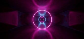 Púrpura retra futurista luminosa lujosa fluorescente de neón de las luces del círculo de Sci Fi el ultravioleta cósmico vibrante  ilustración del vector