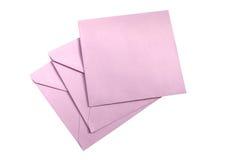 Púrpura tres ningunos sobres del nombre aislados Fotografía de archivo