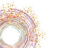 Púrpura verde anaranjada del círculo abstracto con el backgr de la conexión de la malla Imagenes de archivo