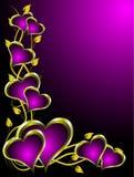 Púrpura y fondo de las tarjetas del día de San Valentín de los corazones del oro Fotografía de archivo