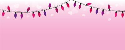 Púrpura y luces de hadas rosadas en fondo rosado con los corazones ilustración del vector